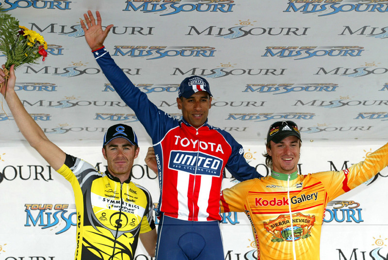 In this this photo provided by PhotoSport International shows Dominguez, Pinfold (L) Rollin (R) stage finish