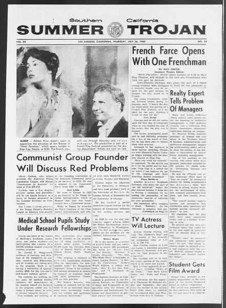 Summer Trojan, Vol. 12, No. 10, July 26, 1962