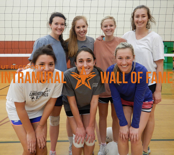 VOLLEYBALL Women's B Champion  Fifth Year Fun  R1: Ciara West, Micah Williams, Anna McCormack R2: Meredith Furst, Emily Hopkins, Ashleigh Monk, Shelby Dremely
