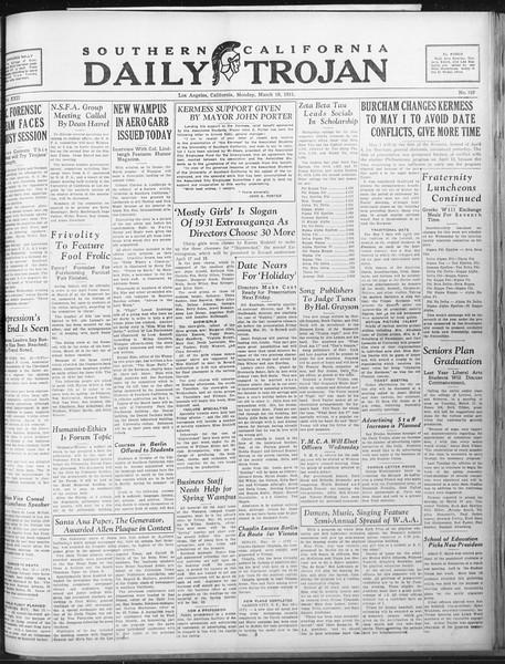 Daily Trojan, Vol. 22, No. 107, March 16, 1931