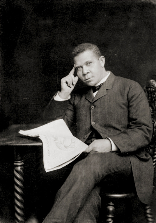 . Booker T. Washington,  holding newspaper. Between 1890 and 1900. Booker Taliaferro Washington (April 5, 1856 � November 14, 1915) was an African-American educator, author, orator, and advisor to Republican presidents. He was the dominant leader in the African-American community in the United States from 1890 to 1915. Representative of the last generation of black American leaders born in slavery, he spoke on behalf of the large majority of blacks who lived in the South but had lost their ability to vote through disfranchisement by southern legislatures. Library of Congress