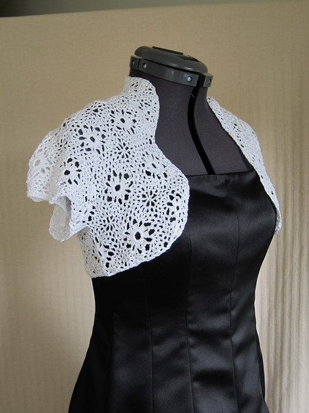 Frost Shrug Made from Nazli Gelin Garden 10 in White with Irisee Metallic Pattern Moth Wings Shrug by Mimi Alelis