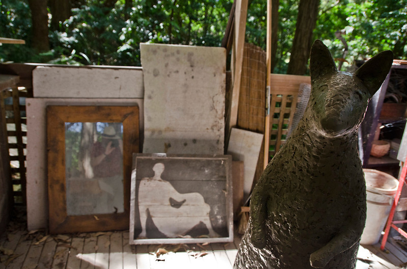 The photographer captures a full scale version of the wallabies (and himself) in the studio