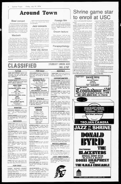 Summer Trojan, Vol. 67, No. 9, July 19, 1974