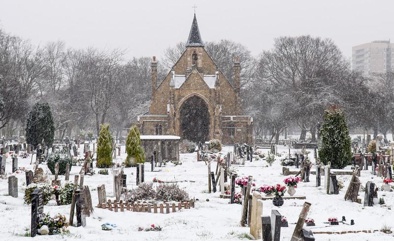 Snow in Lambeth Cemetery
