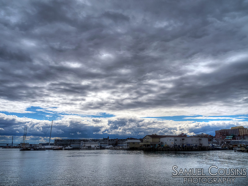 Cloud in the sky over the wharfs in Portland Harbor.