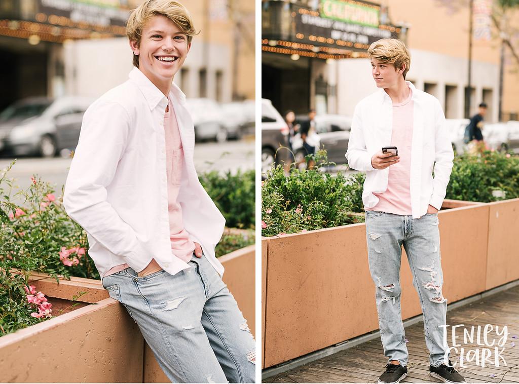 Teen boy model headshot portfolio session for JE Model in Downtown San Jose by Tenley Clark Photography.