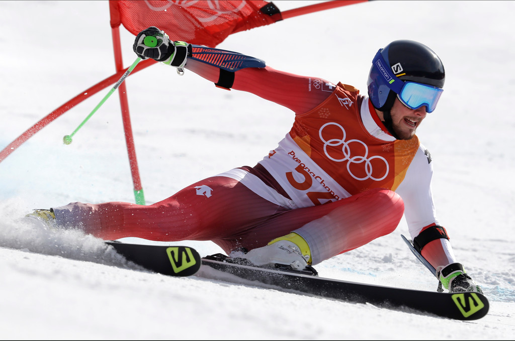 . Switzerland\'s Luca Aerni competes in the second run of the men\'s giant slalom at the 2018 Winter Olympics in Pyeongchang, South Korea, Sunday, Feb. 18, 2018. (AP Photo/Luca Bruno)
