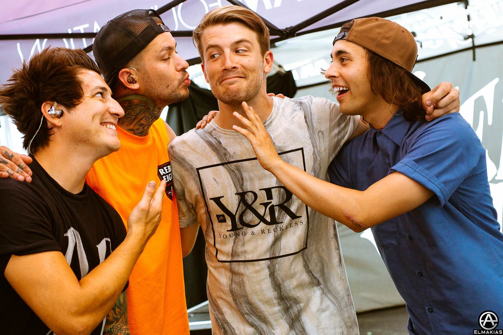 Jaime Preciado, Mike Fuentes, Trenton Woodley of Hands Like Houses , Vic Fuentes at Warped Tour 2015