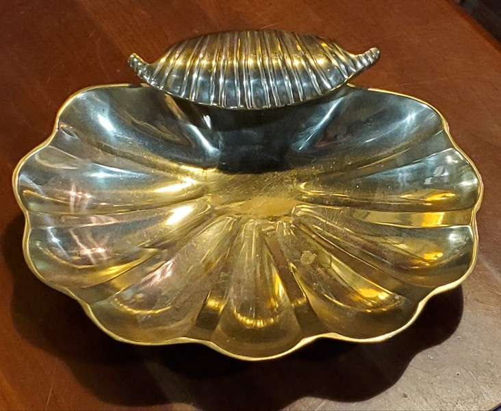 Solid Brass Clamshell Candy Dish