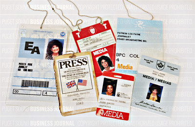 Patti Payne historical press credentials as seen in the PSBJ photo studio in Seattle, Washington