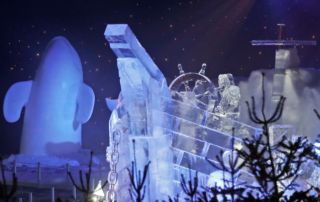 . A boat ice sculpture in front of a whale at the launch of Hyde Park Winter Wonderland\'s Magical Ice Kingdom in London, Thursday, Nov. 17, 2016. This years Winter Wonderland starts on November 18,2016 and lasts until January 2, 2017. (AP Photo/Frank Augstein)