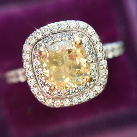 .93ct Fancy Yellow Cushion Cut Diamond Double Halo Ring by WhiteFlash