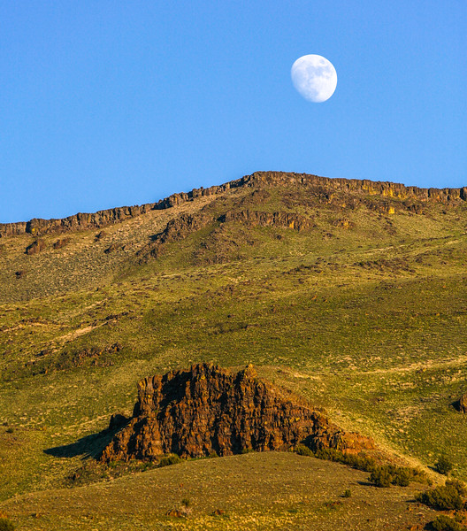 The nearly full moon rises over the hills of Oregon's Steens Mountains, Oregon, USA