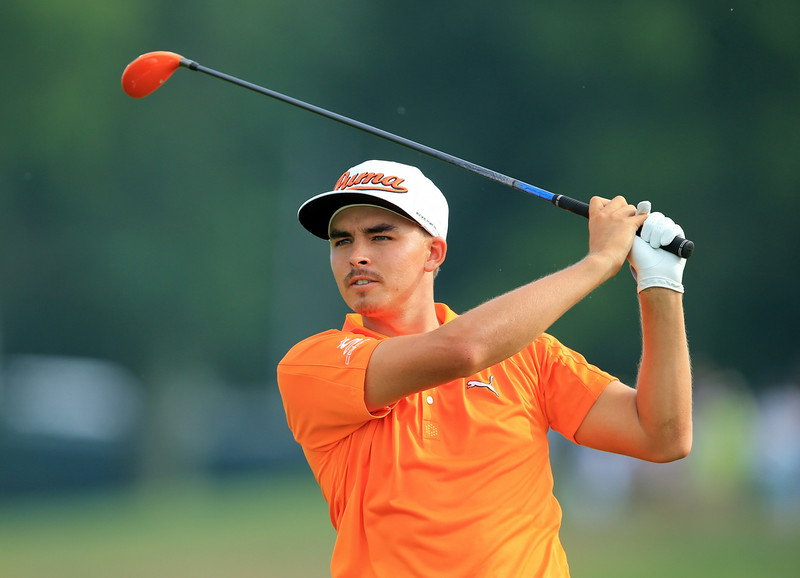 . Rickie Fowler of the United States plays his second shot to the seventh  hole during the final round of the 96th PGA Championship at Valhalla Golf Club on August 10, 2014 in Louisville, Kentucky.  (Photo by David Cannon/Getty Images)