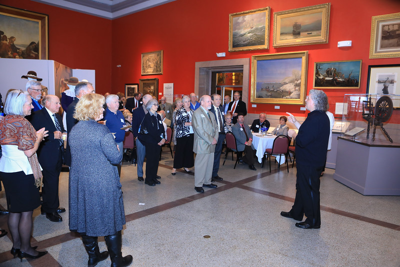 Plymouth Philharmonic conductor Steven Karidoyanes shares his thoughts on  the start of the Phil's 101st season with guests at the pre-concert soiree held at Pilgrim Hall Museum on Saturday evening. Wicked Local Photo/Denise Maccaferri