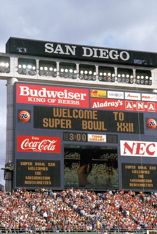 . A general view of the scoreboard before a game of the Washington Redskins against the Denver Broncos prior to Super Bowl XXII at Jack Murphy Stadium on January 31, 1988 in San Diego, California. The Redskins won 42-10. (Photo by George Rose/Getty Images)