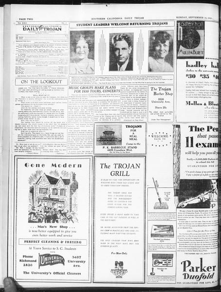 Daily Trojan, Vol. 22, No. 2, September 15, 1930