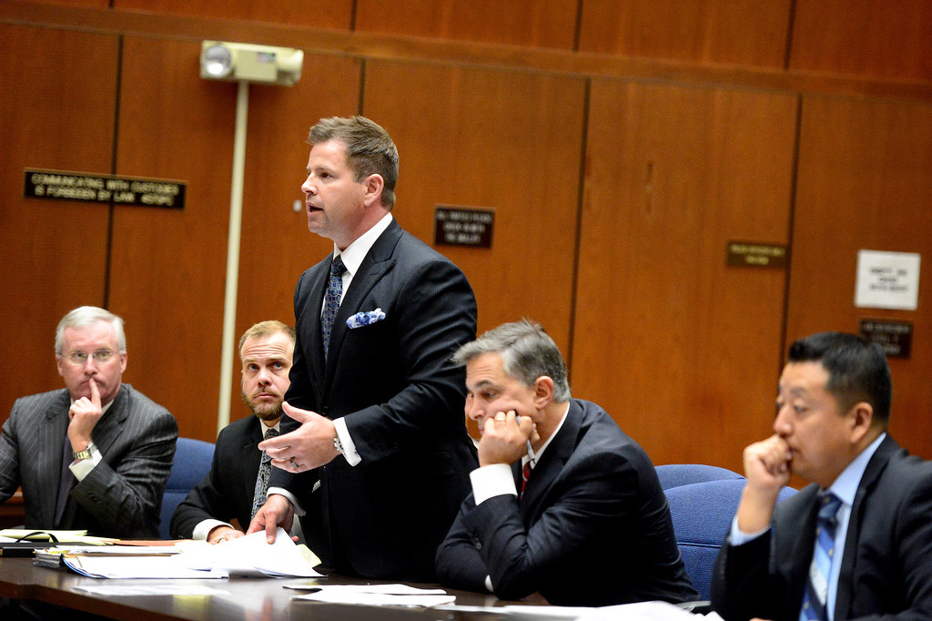 . As Irwindale officials appear in court for the fifth time Tuesday, December 17, 2013 at Clara Shortridge Foltz Criminal Justice Center in Los Angeles Attorney Anthony Falangetti argues that statue of limitations has past on conflict of interest and misappropriation of public funds\' charges. (Photo by Sarah Reingewirtz/Pasadena Star-News)
