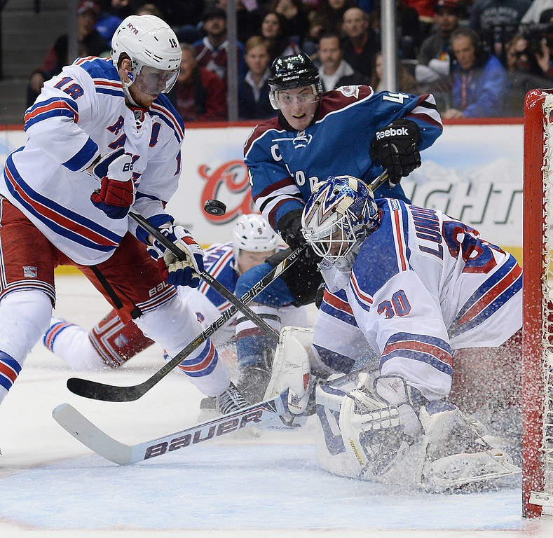 . Tyson Barrie put a shot on net in the third period. The Colorado Avalanche defeated the New York Rangers 3-2 Thursday night, April 3, 2014 in a shootout at the Pepsi Center in Denver. (Photo by Karl Gehring/The Denver Post)