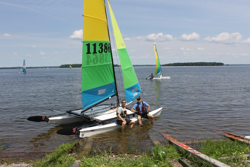 Kaylon and Bruce holding the boat down, light winds were the order for the day...