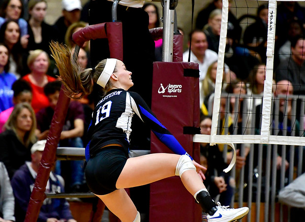 11/14/2018 Mike Orazzi | Staff Bristol Eastern's Amber Blais (19)during the Class L Semifinal State Girls Volleyball Tournament with Woodstock Academy held at Windsor High School Wednesday night.