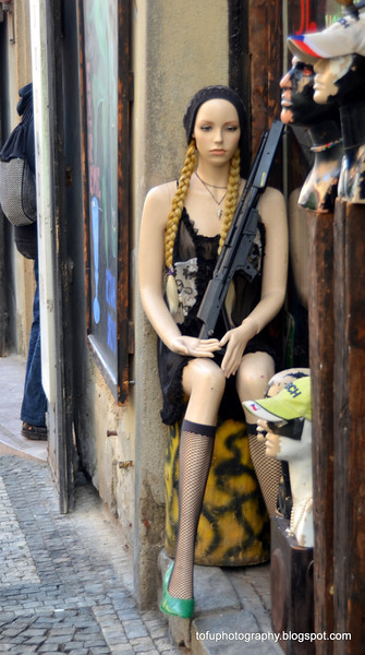 Mannequin with a rifle outside a shop in Prague, Czech Republic, in February 2014