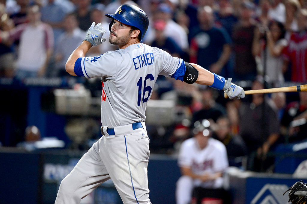 . Los Angeles Dodgers\' Andre Ethier gets walked in the ninth in game 2 of the playoffs Thursday, October 4, 2013 at Turner Field in Atlanta, Georgia. Braves defeated Dodgers 4-3. (Photo by Sarah Reingewirtz/Pasadena Star- News)