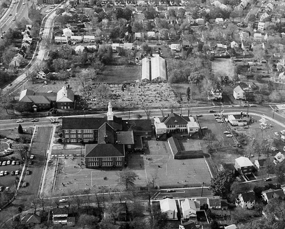 Aerial view of the new and old Connecticut Farms Schools around the early 60's