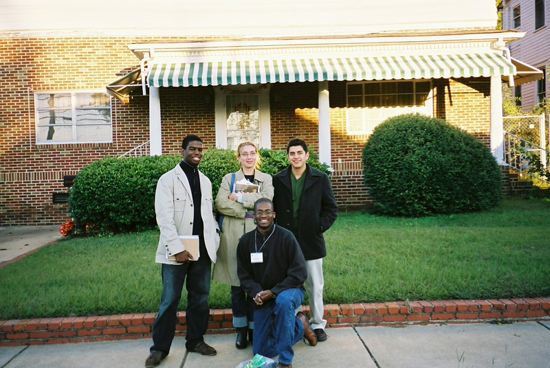 Carl Owens, Garrett Brown, Briallen Harper, and Peter Varela outside Harris House - Bob Durkee