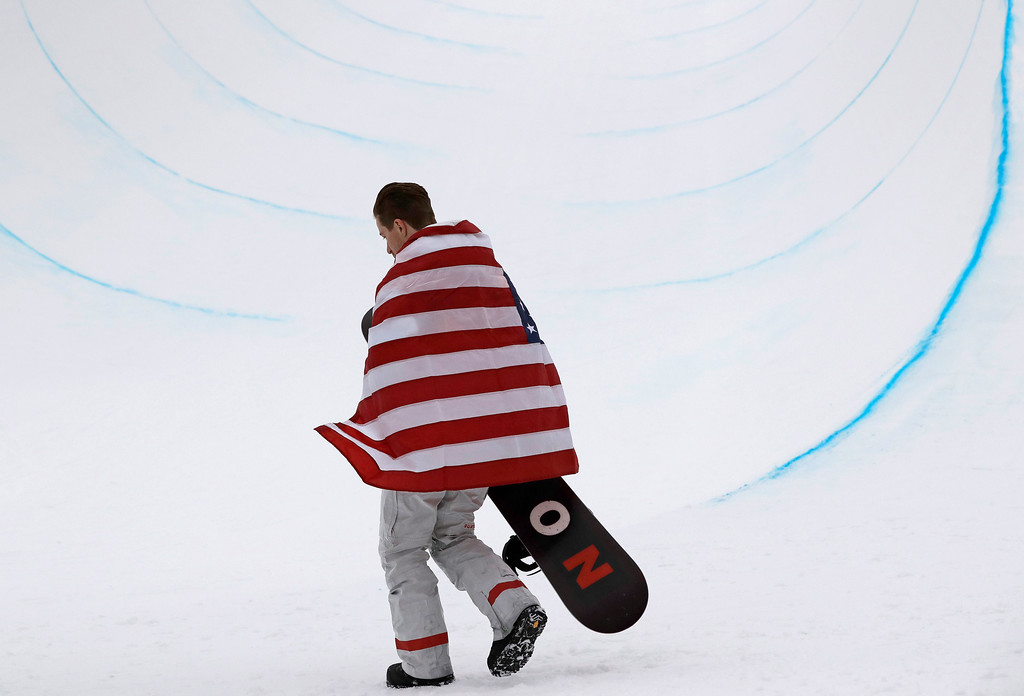 . Gold medal winner Shaun White, of the United States, celebrates after finishing his run during the men\'s halfpipe finals at Phoenix Snow Park at the 2018 Winter Olympics in Pyeongchang, South Korea, Wednesday, Feb. 14, 2018.  (AP Photo/Lee Jin-man)