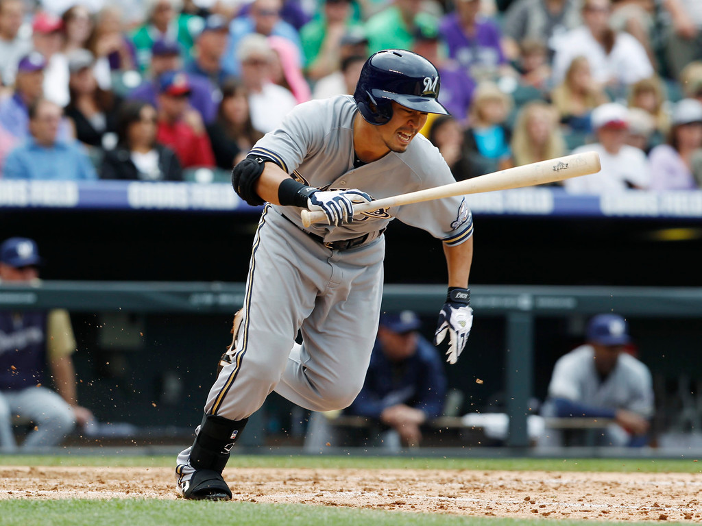 . Milwaukee Brewers\' Norichika Aoki reacts after grounding out against the Colorado Rockies in the fifth inning of a baseball game in Denver, Sunday, July 28, 2013. (AP Photo/David Zalubowski)