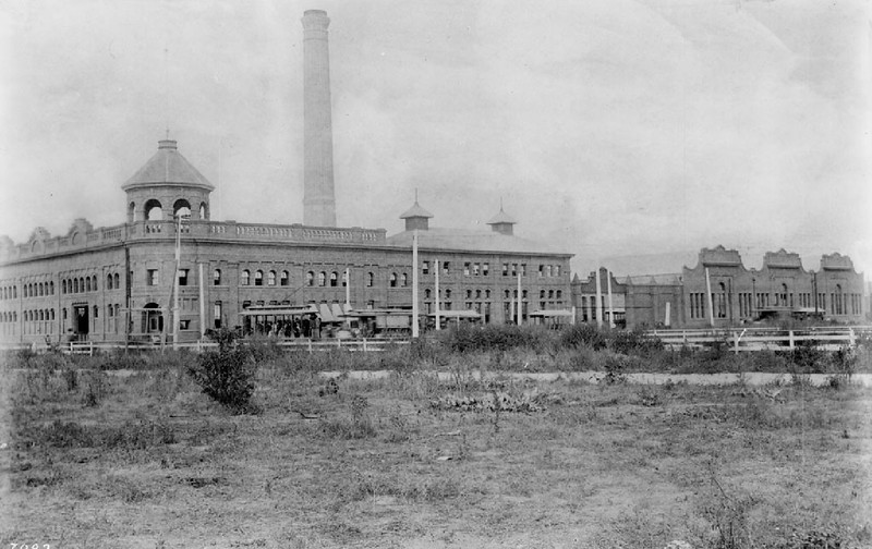 Exterior view of the Los Angeles Electric Railroad plant, ca.1892