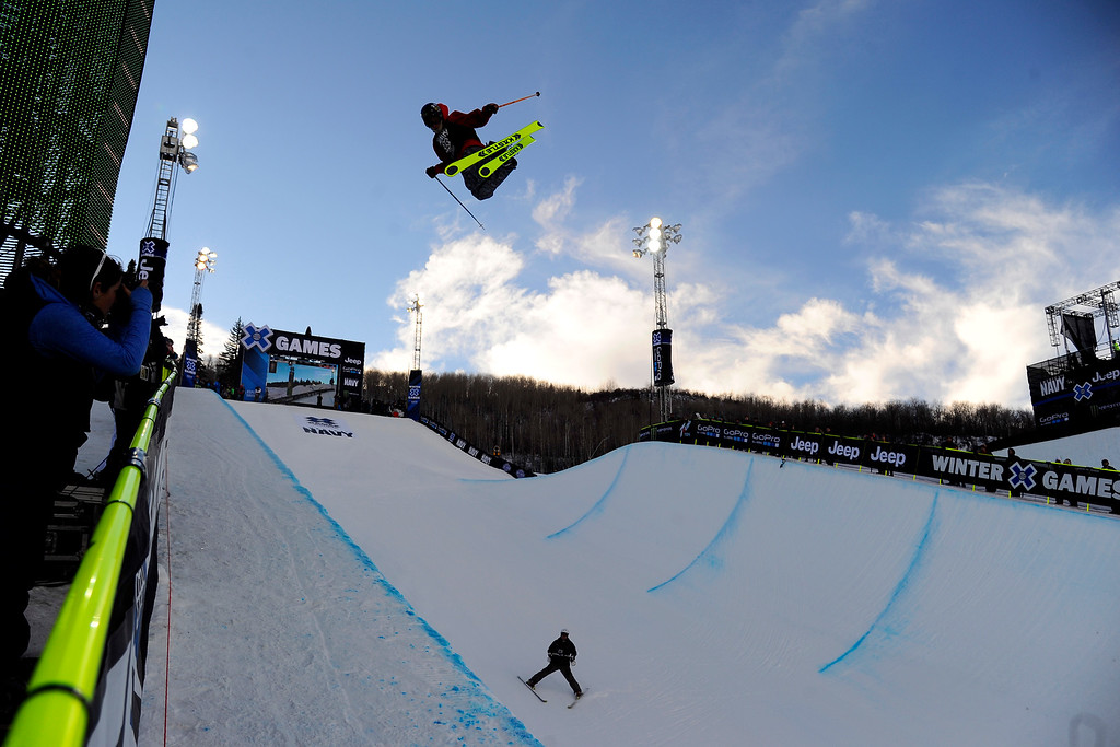 . ASPEN, CO. - JANUARY 25:  Aspen local Alex Ferreira takes bronze at Ski Superpipe Men\'s Finals at Winter X Games 2015, Sunday, January 25.  (Photo By Mahala Gaylord/The Denver Post)