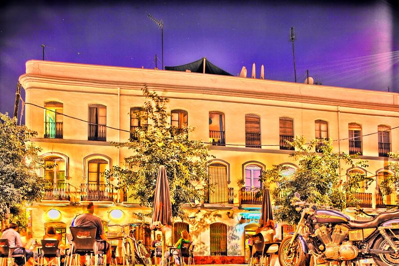 Alaneda de Hercules square by night, Seville, Spain. Digital illustration.