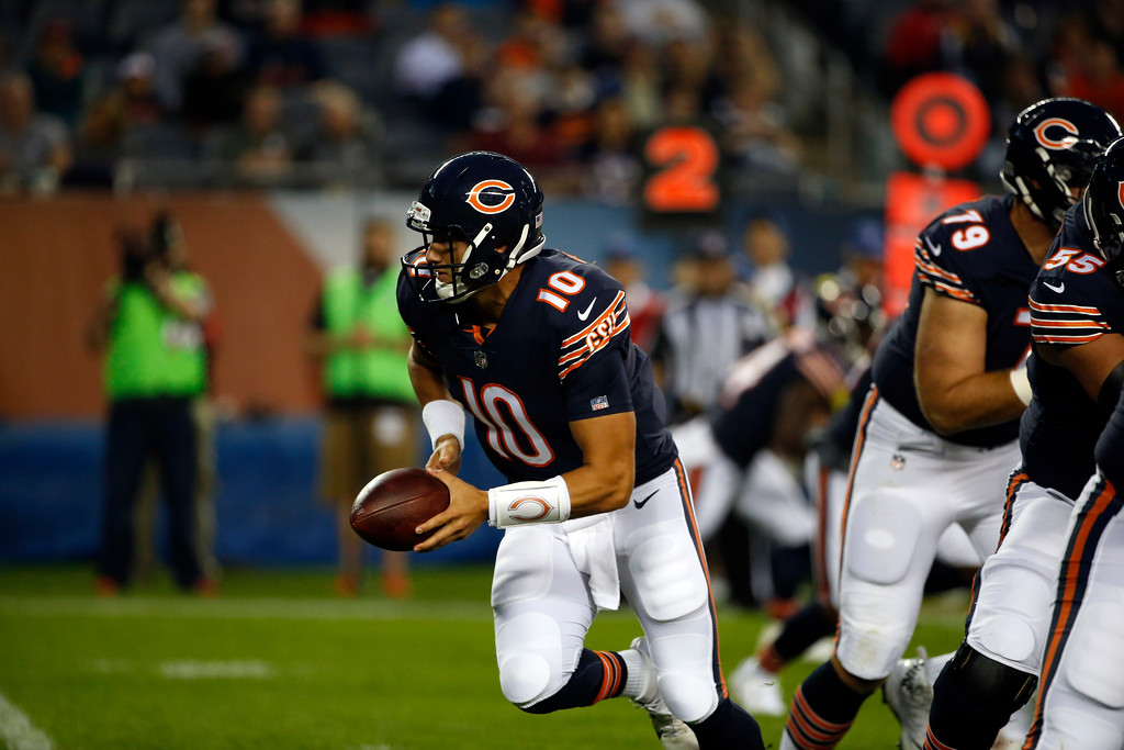 . Chicago Bears quarterback Mitchell Trubisky (10) during the first half of an NFL football game against the Cleveland Browns, Thursday, Aug. 31, 2017, in Chicago. (AP Photo/Nam Y. Huh)