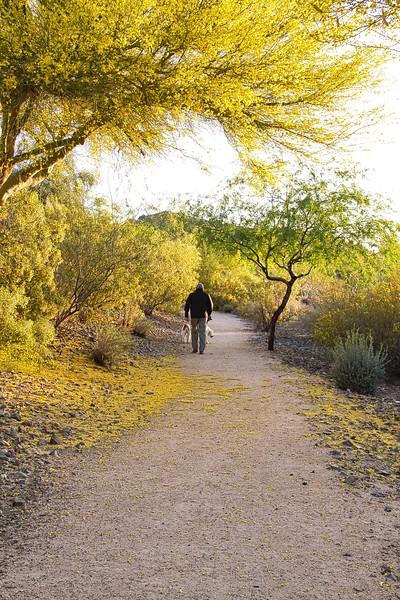 Man on Desert Trail with Dog