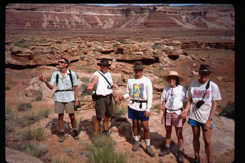 L-R: Beau, Lou, Kevin, Debbie & Joel. ... Showing off our chert rock collection, which Beau offers to the Canyon Spirits.