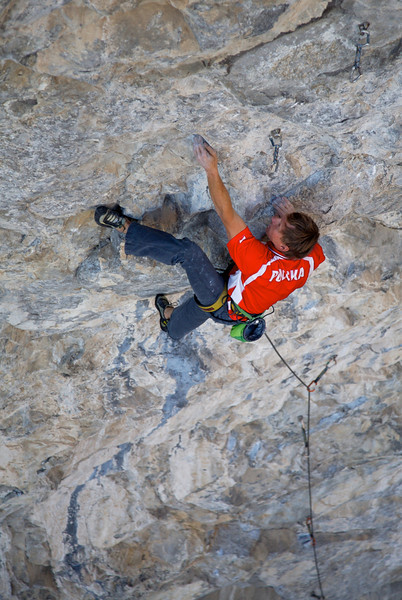 """Greg Toss dealing with the first of many cruxes on """"Buffet Royale"""" 13c"""