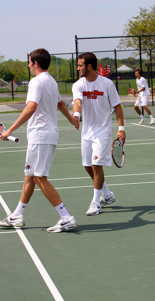 Stephen Martin and Joao Poli during Sunday's Tennis match against SC State