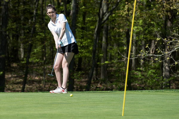 05/8/19 Wesley Bunnell | Staff Berlin girls golf defeated New Britain at Timberlin Golf Course on Wednesday afternoon. Berlin's Bridgett McQuillan with a long putt.