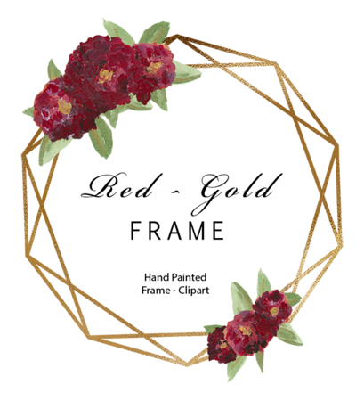 Red Gold Geometry Frame $2