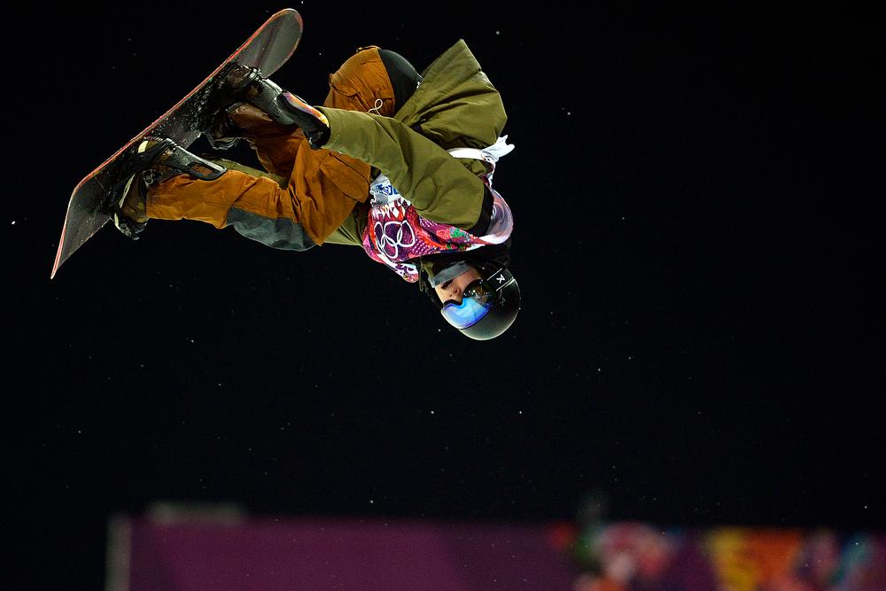 . Switzerland\'s David Habluetzel rides during the men\'s snowboard halfpipe final. Sochi 2014 Winter Olympics on Tuesday, February 11, 2014. (Photo by AAron Ontiveroz/The Denver Post)