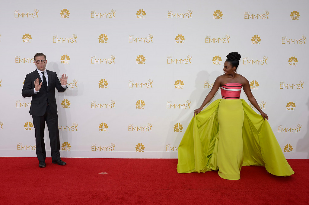 . Teyonah Parris on the red carpet at the 66th Primetime Emmy Awards show at the Nokia Theatre in Los Angeles, California on Monday August 25, 2014. (Photo by John McCoy / Los Angeles Daily News)