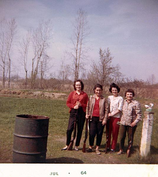 Aunt Julie & friends at Pt Mouillie Shooting Trap 1964.JPG