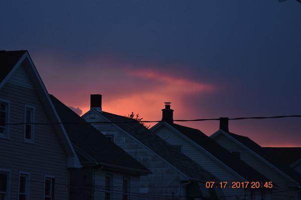 sun setting in the north