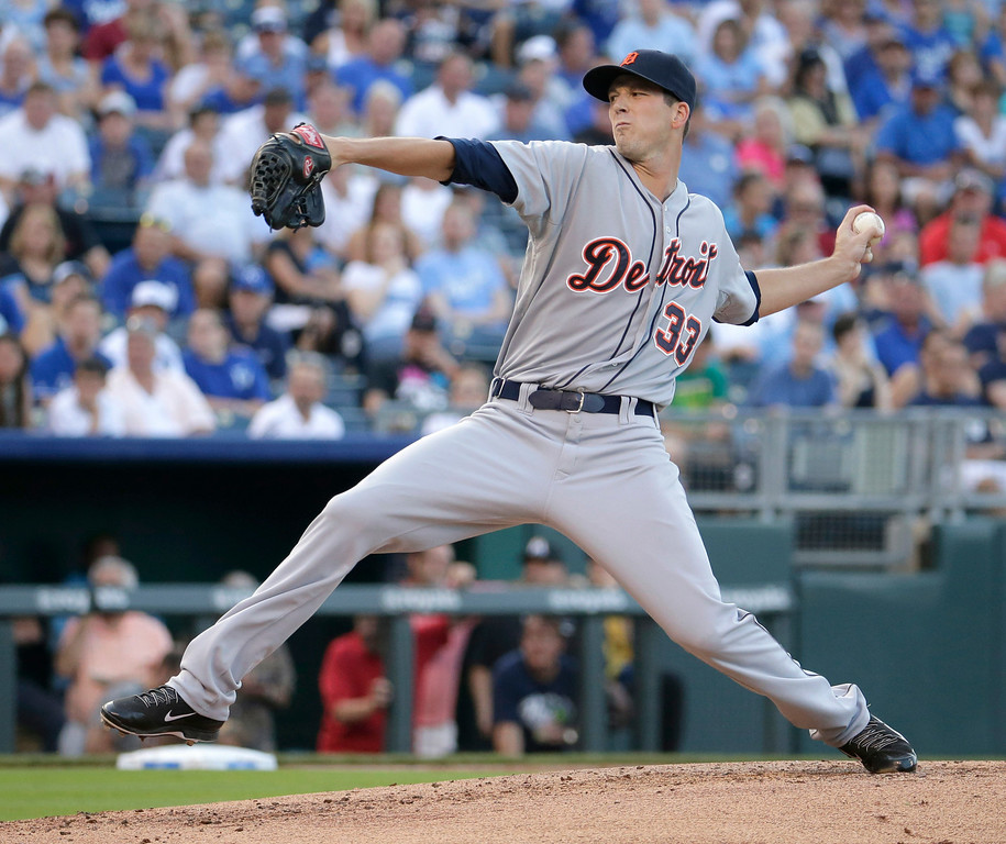 . Detroit Tigers starting pitcher Drew Smyly throws during the first inning of a baseball game against the Detroit Tigers Thursday, July 10, 2014, in Kansas City, Mo. (AP Photo/Charlie Riedel)