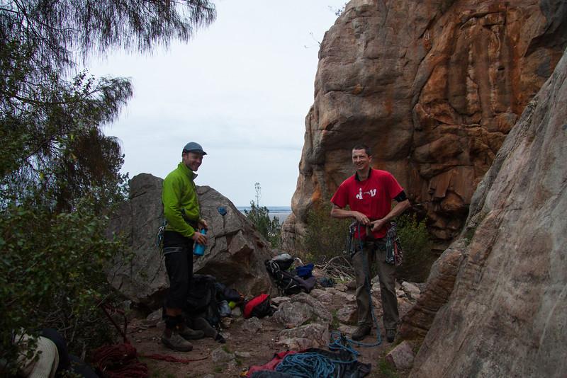 Belayer 1 Gareth and I get ready to head up Auto de Fe 21