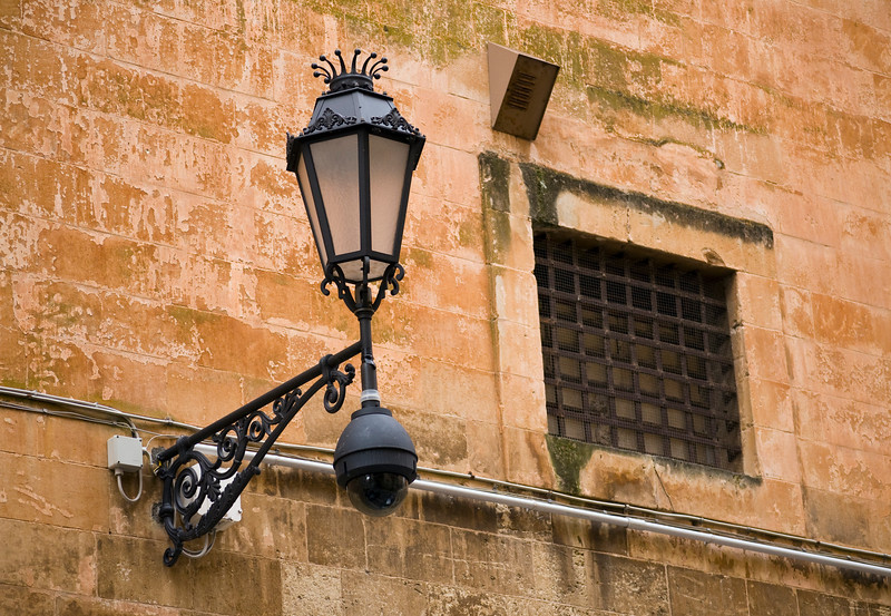 Street Lighting and Window on Wall, Lecce, Italy