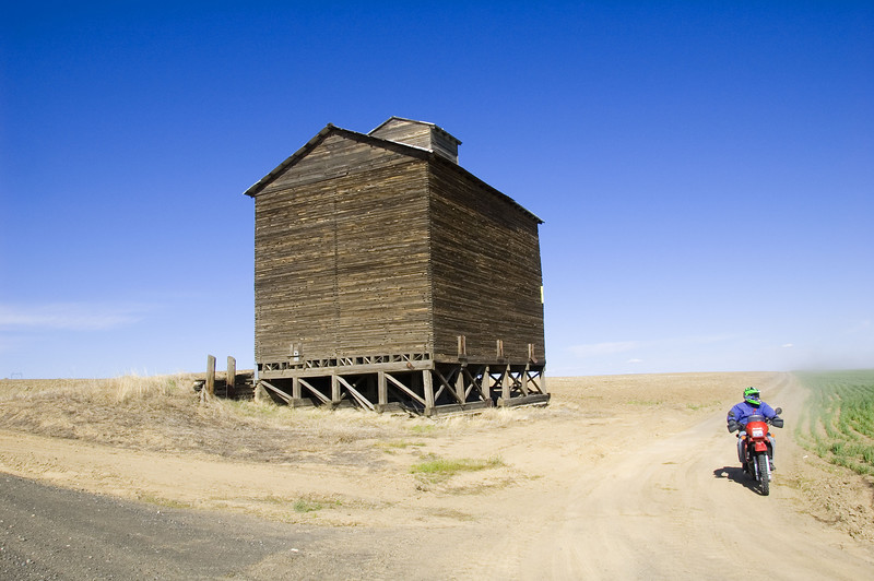A huge wooden grain elevator.